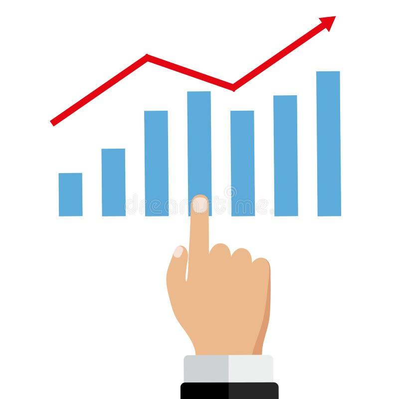 El hombre de negocios maneja el gráfico financiero del crecimiento Concepto cada vez mayor del beneficio ejemplo plano del diseño ilustración del vector