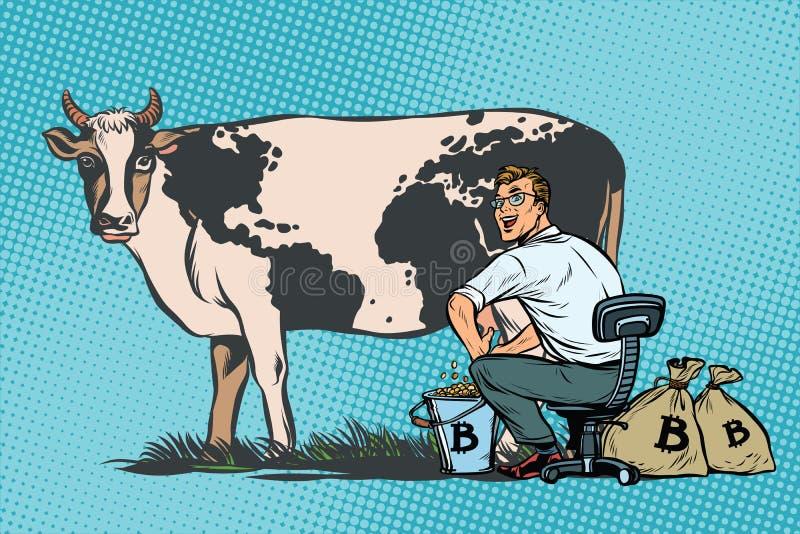 El hombre de negocios mina los bitcoins que ordeñan una vaca, comercio mundial stock de ilustración