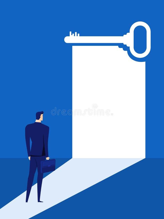 El hombre de negocios mira la puerta dominante del éxito, solución, oportunidades, tendencias futuras del negocio Concepto de la  stock de ilustración