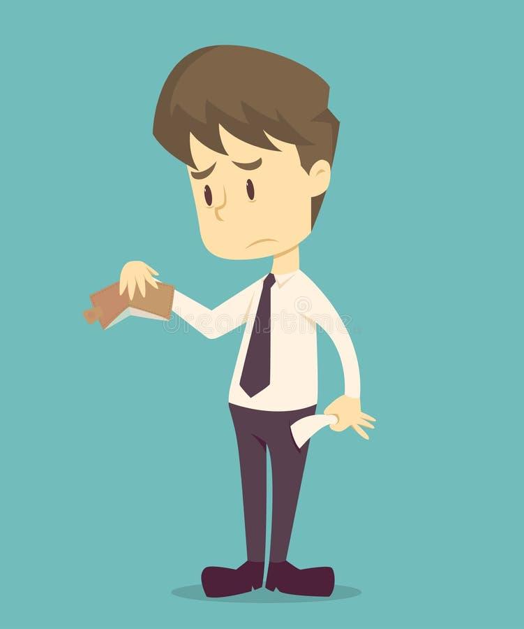 El hombre de negocios no tiene ning?n dinero la historieta del negocio, fracaso del empleado es el concepto del negocio de caract stock de ilustración