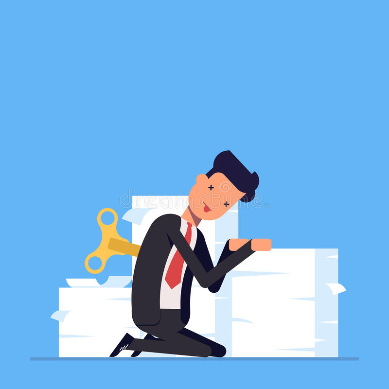 El hombre de negocios o el encargado cansado se sienta cerca de una pila grande de documentos La energía de la falta para hacer e ilustración del vector