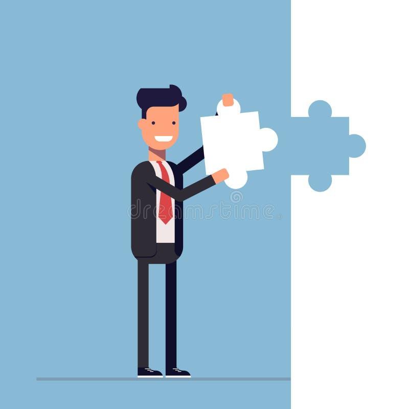 El hombre de negocios o el encargado pone la pieza del rompecabezas pasada shutdown solución Hombre feliz en un traje de negocios libre illustration