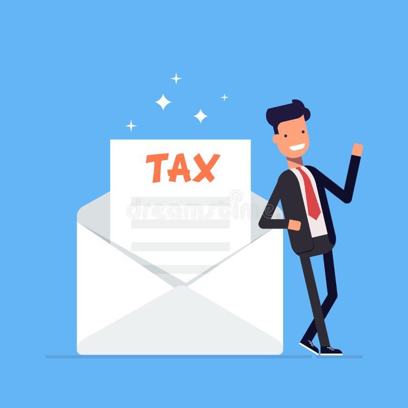 El hombre de negocios o el encargado se coloca cerca de una letra del reembolso a la forma de impuesto Carácter del oficinista en ilustración del vector