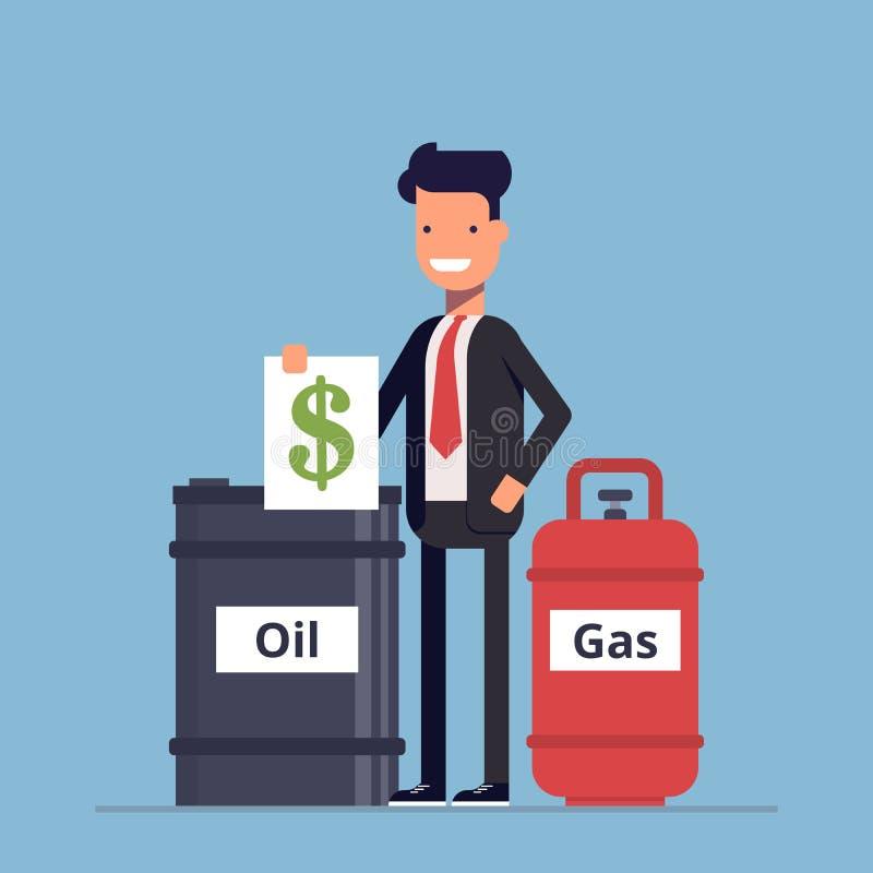El hombre de negocios o el encargado vende un barril de petróleo y un gas Recursos naturales de la extracción del negocio Dinero  ilustración del vector