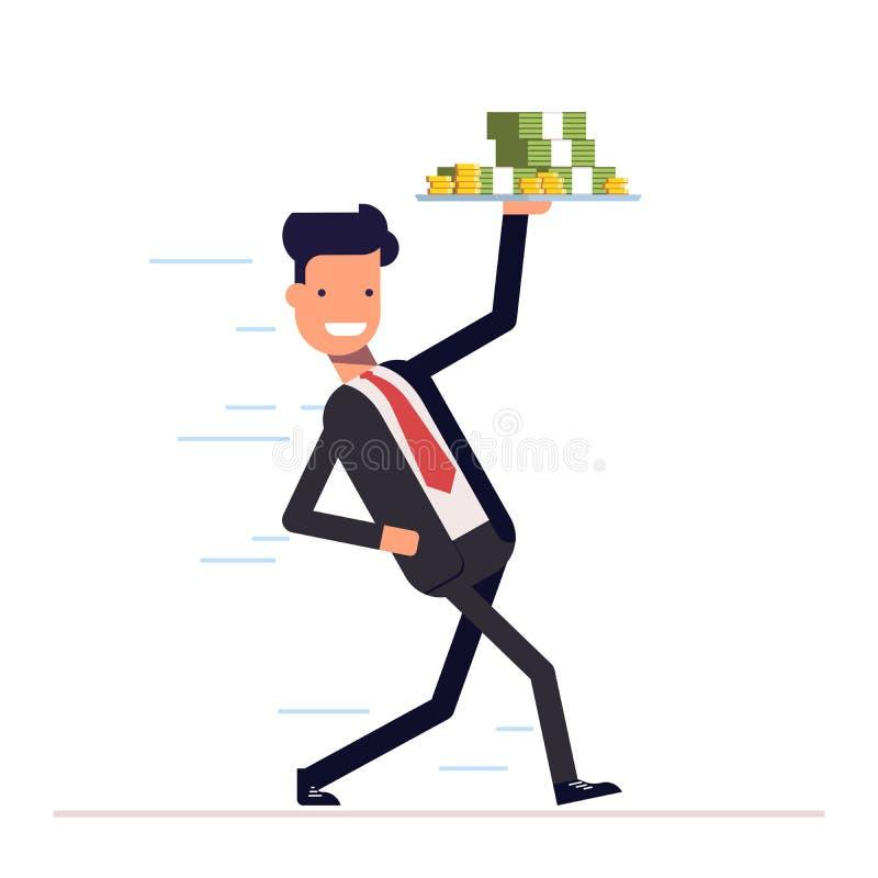 El hombre de negocios o el encargado viene puntualmente con una bandeja y un dinero a disposición Hombre joven alegre que corre e stock de ilustración
