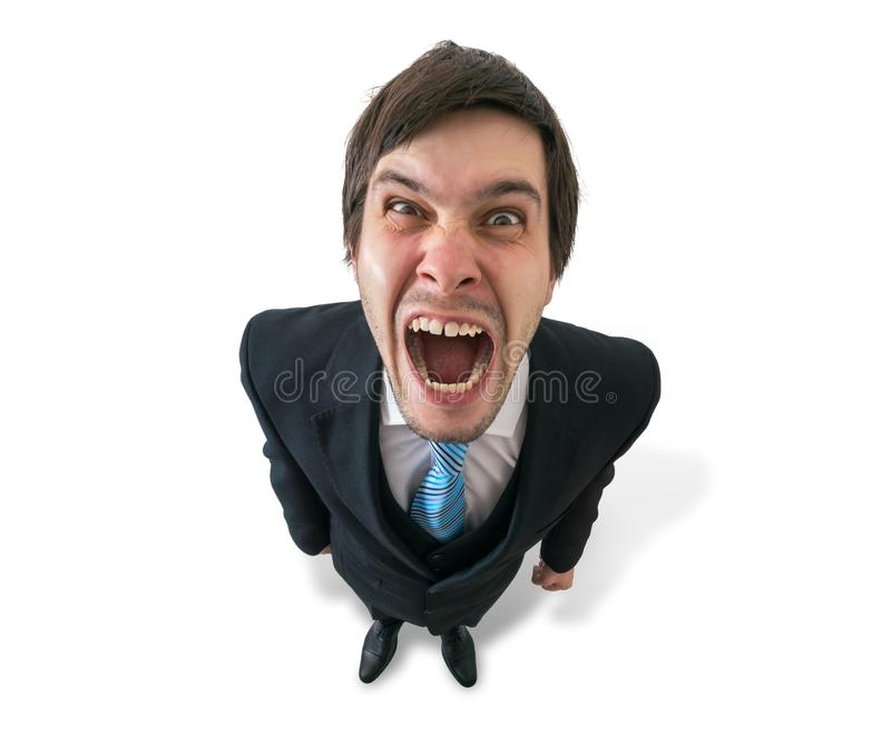 El hombre de negocios o el jefe loco divertido joven está gritando Aislado en blanco imagen de archivo