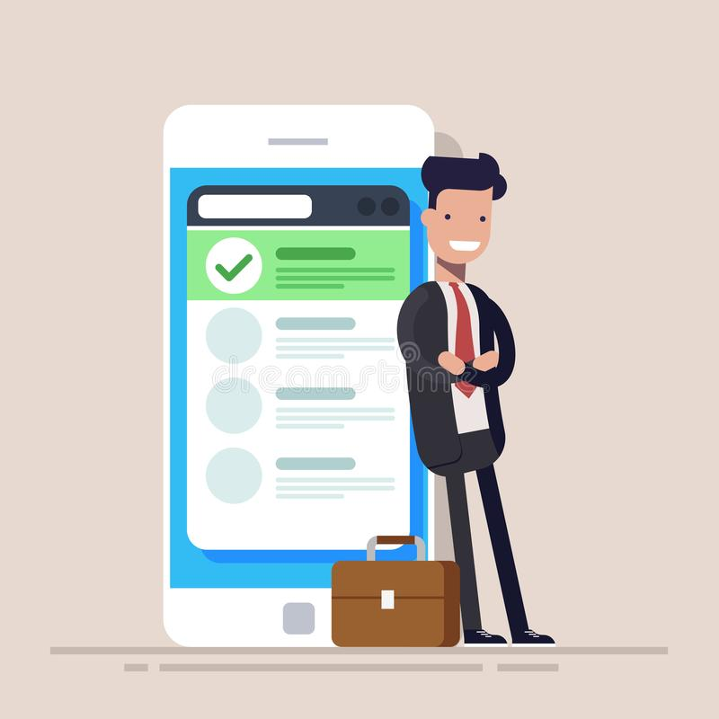 El hombre de negocios o el encargado feliz se está colocando cerca de un teléfono móvil con una lista en la pantalla Ejemplo plan ilustración del vector