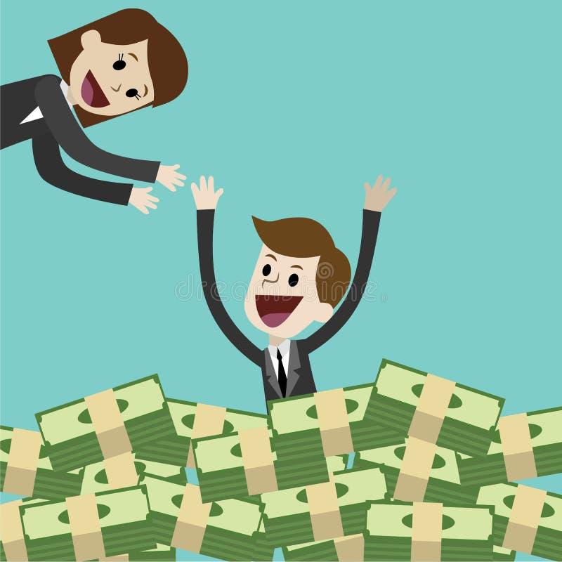 El hombre de negocios o el encargado tiene mucho dinero y natación en dinero El negocio tiene beneficio Su socio está alegre para ilustración del vector