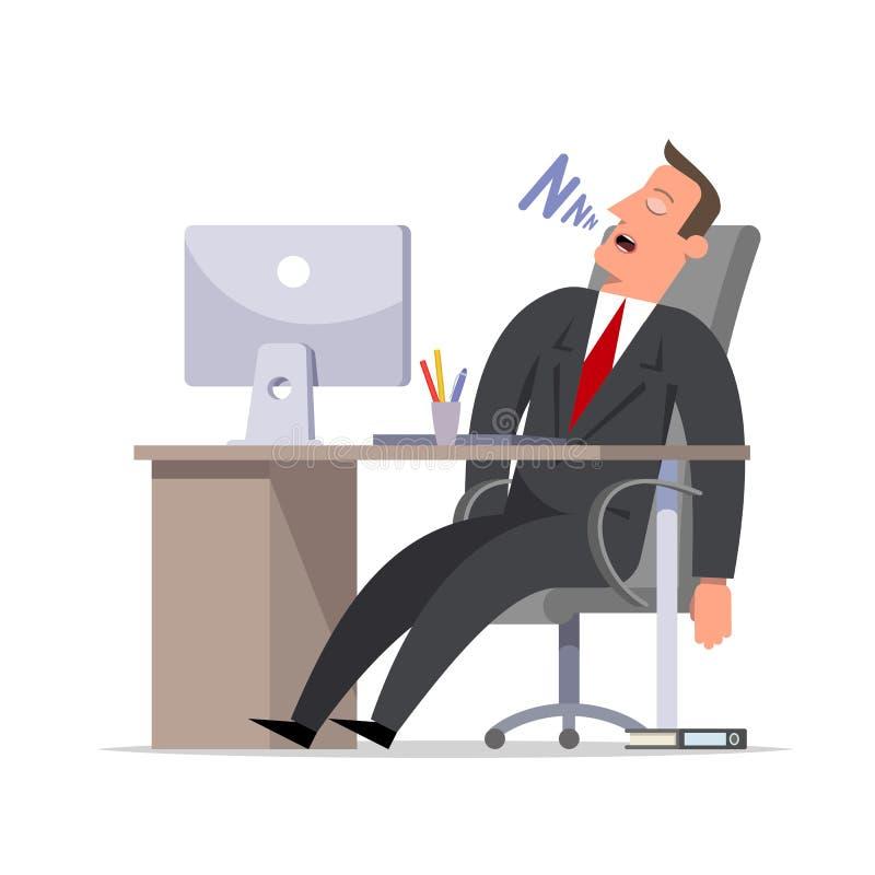 El hombre de negocios o el vendedor duerme roncando en la oficina en el cálculo libre illustration