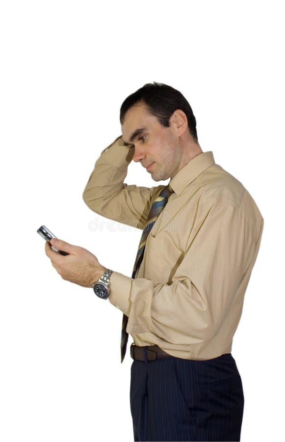 El hombre de negocios PDA piensa foto de archivo libre de regalías