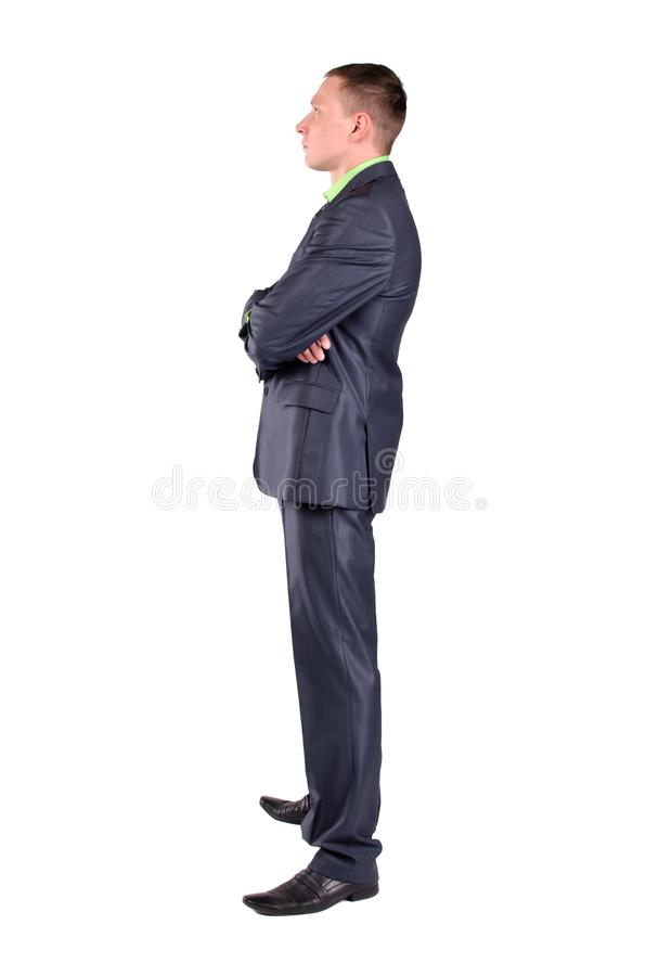 El hombre de negocios pensativo es pensamiento aislado fotografía de archivo libre de regalías