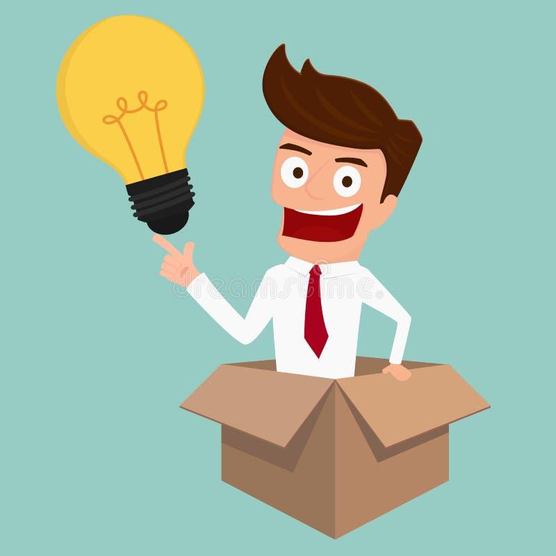 El hombre de negocios piensa fuera de la caja y consigue idea stock de ilustración