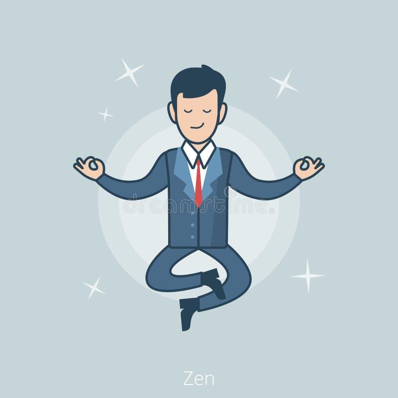 El hombre de negocios plano linear eleva y mantiene flotando vector de la actitud del zen ilustración del vector