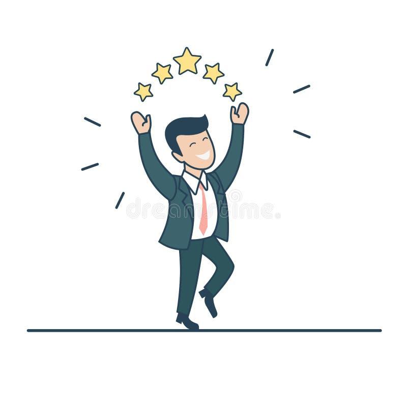 El hombre de negocios plano linear salta vector de las estrellas éxito ilustración del vector