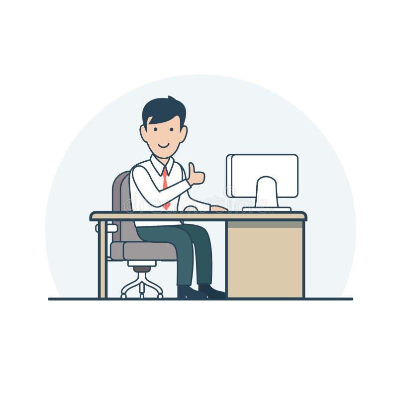 El hombre de negocios plano linear sienta vector stock de ilustración