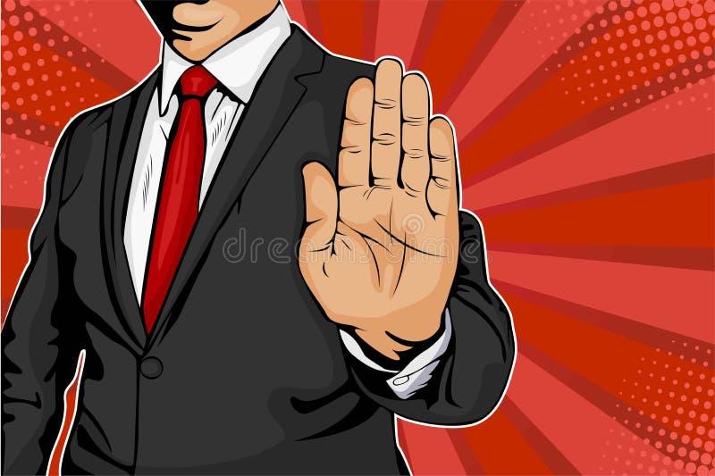El hombre de negocios pone hacia fuera su mano y órdenes para parar ejemplo retro del vector del arte pop stock de ilustración