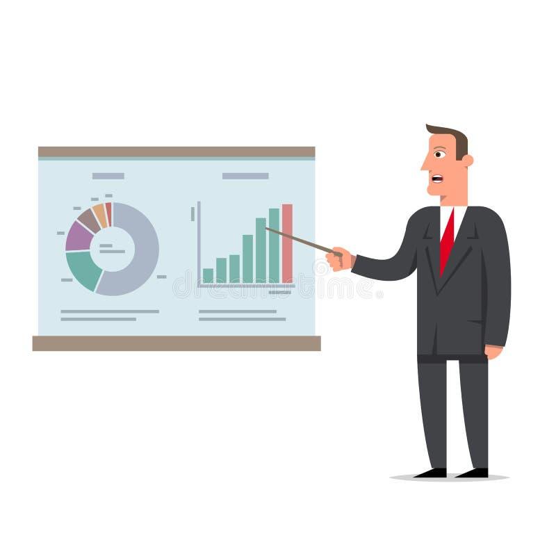 El hombre de negocios presenta un informe usando infographics en la oficina f ilustración del vector