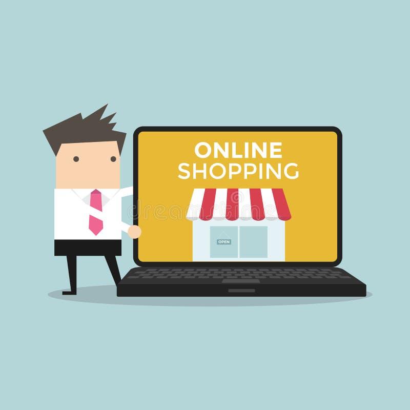 El hombre de negocios promueve la tienda en línea en ordenador ilustración del vector