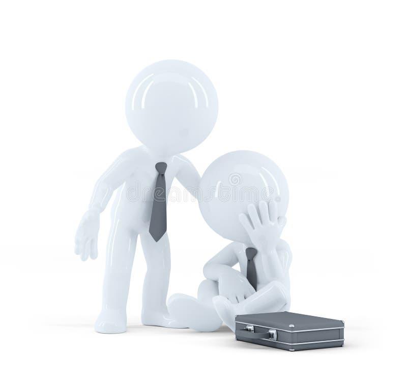 El hombre de negocios proporciona la ayuda a un colega. Problemas en el concepto del trabajo libre illustration