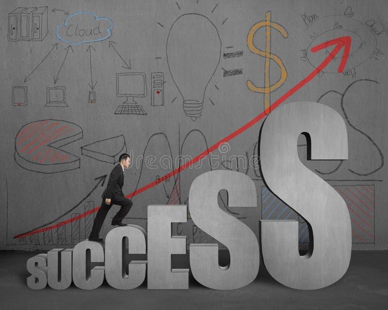 El hombre de negocios que camina en las escaleras del éxito con negocio garabatea en w ilustración del vector