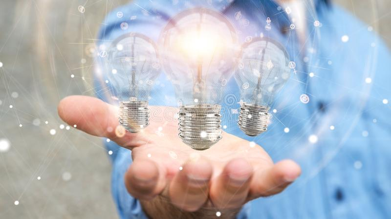 El hombre de negocios que conecta las bombillas modernas con las conexiones 3D ren ilustración del vector