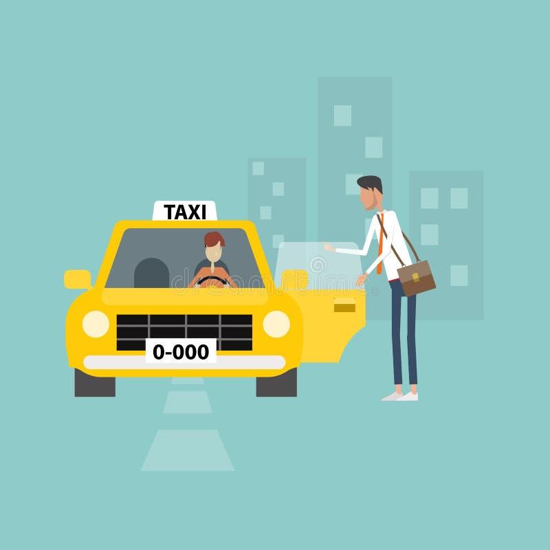 El hombre de negocios que consigue el taxi va a trabajar negocio en ciudad ilustración del vector