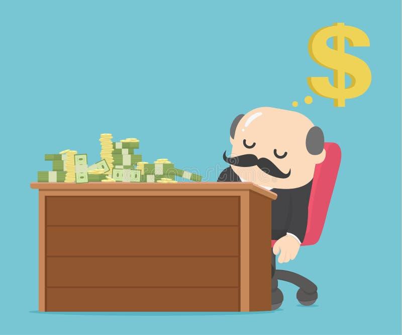 El hombre de negocios que duerme en la tabla tiene dinero libre illustration