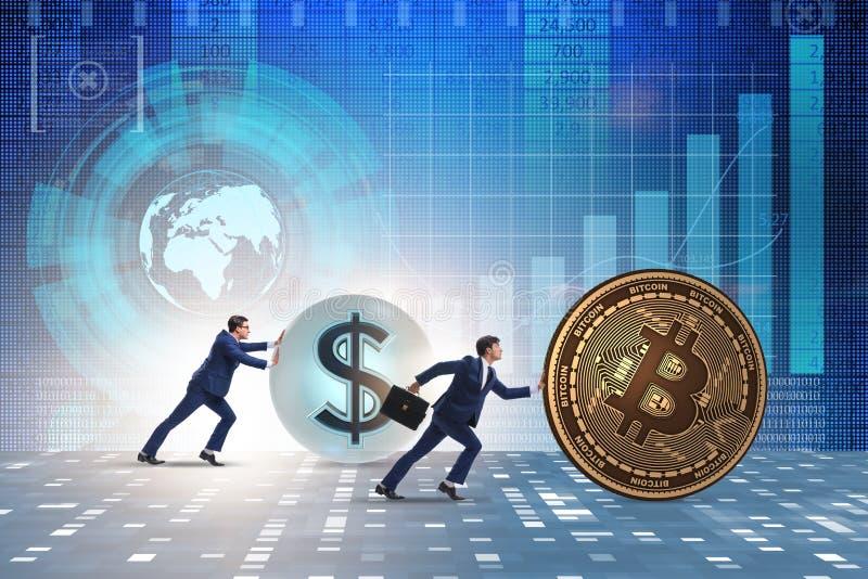 El hombre de negocios que empuja el bitcoin en concepto del blockchain del cryptocurrency imágenes de archivo libres de regalías