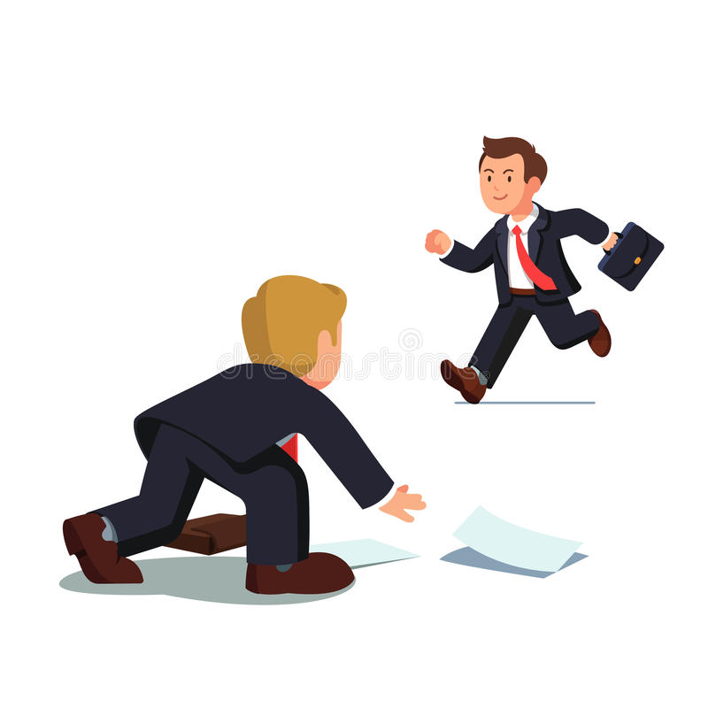 El hombre de negocios que es atrasado y el funcionamiento ayunan stock de ilustración