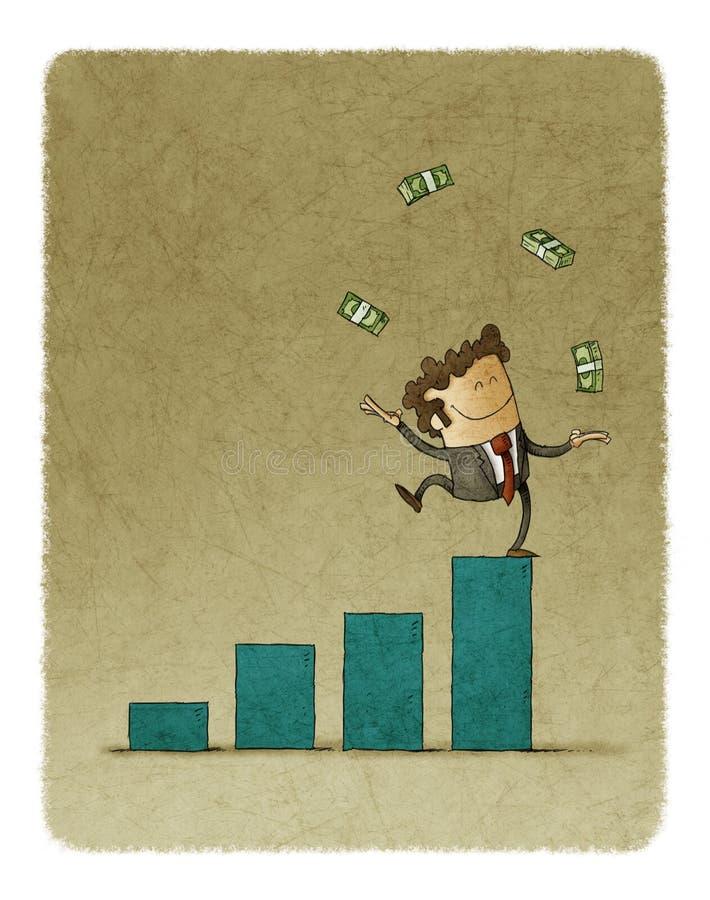 El hombre de negocios que hacía juegos malabares con el dinero aumentó encima de un gráfico de barra ilustración del vector