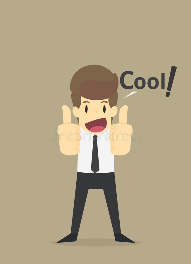 El hombre de negocios que levanta sus dos pulgares para arriba, decir se refresca stock de ilustración