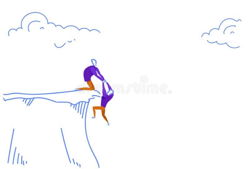 El hombre de negocios que lleva a cabo las manos que cuelgan el socio del abismo de la montaña del acantilado del colega del homb stock de ilustración