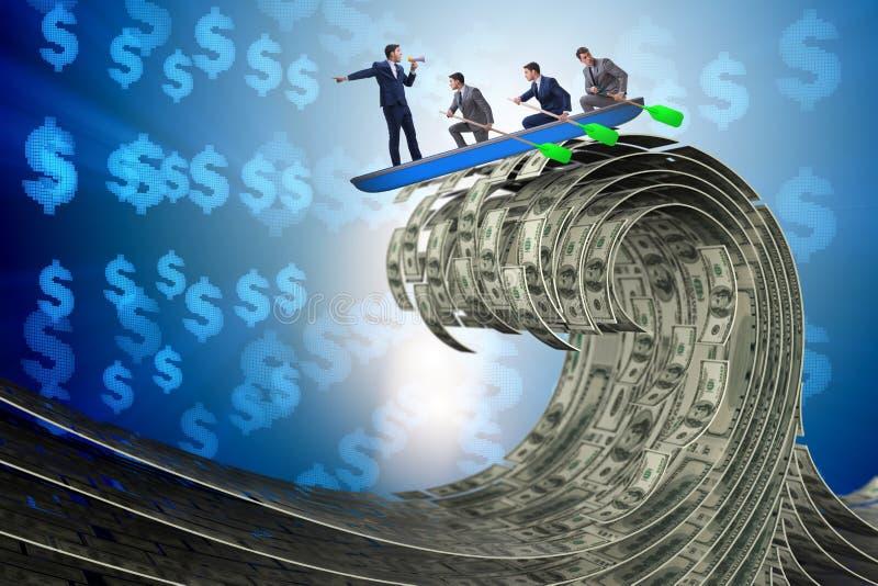 El hombre de negocios que lleva a su equipo a través del mar del dólar ilustración del vector