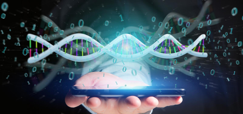 El hombre de negocios que llevaba a cabo datos de la representación 3d cifró la DNA con el fi binario imagenes de archivo