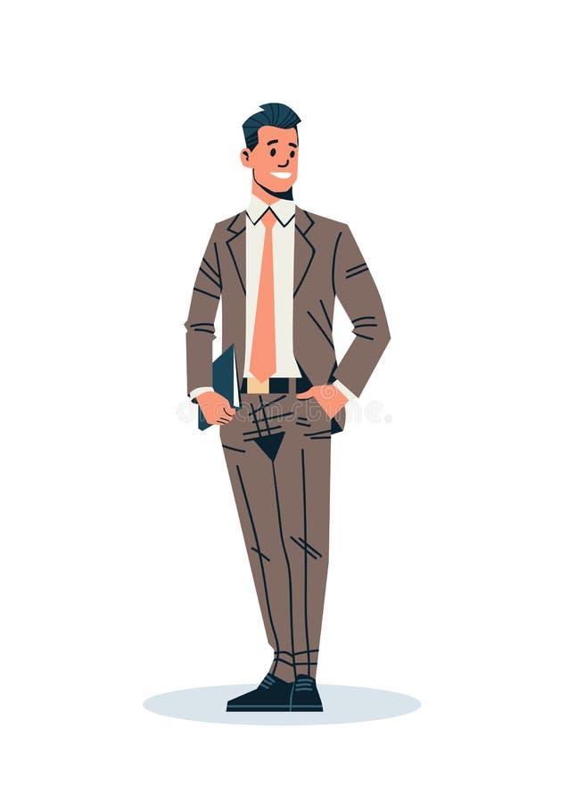 El hombre de negocios que llevaba a cabo el personaje de dibujos animados masculino del oficinista del hombre de negocios de la c stock de ilustración