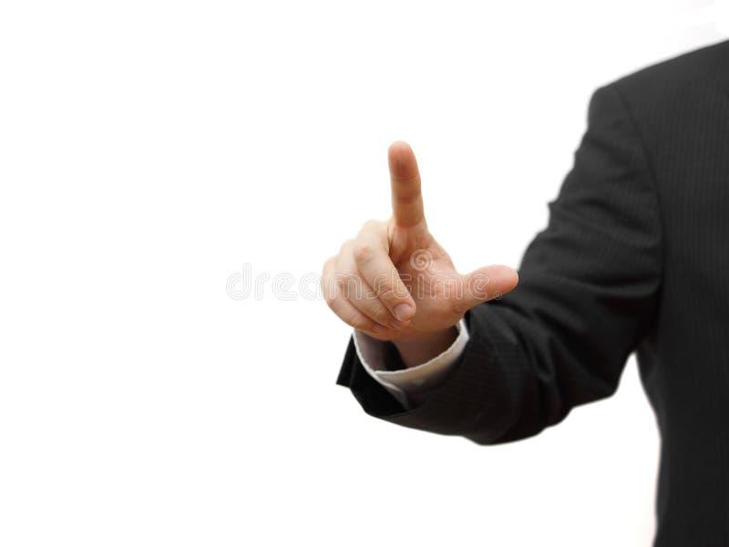 El hombre de negocios que presiona el botón virtual, alista para el texto fotos de archivo
