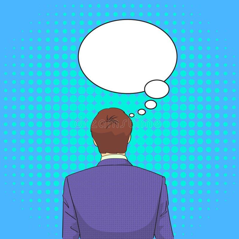 El hombre de negocios que retrocede reflexiona el estallido de pensamiento Art Retro Style Chat Bubble stock de ilustración