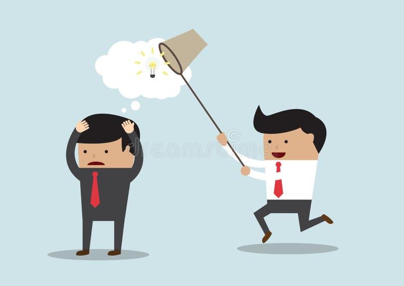 El hombre de negocios que roba idea, roba concepto de la idea libre illustration