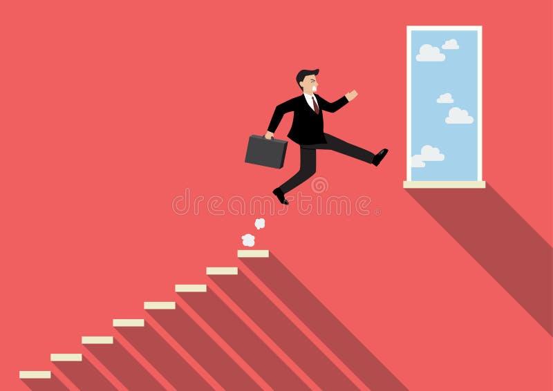 El hombre de negocios que salta al éxito ilustración del vector
