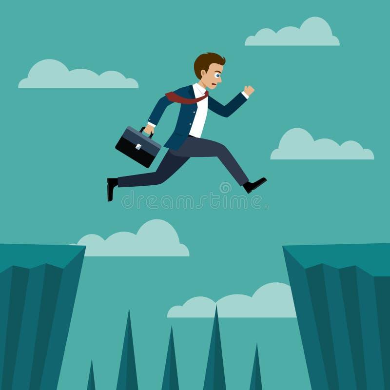 El hombre de negocios que salta encima entre los acantilados libre illustration