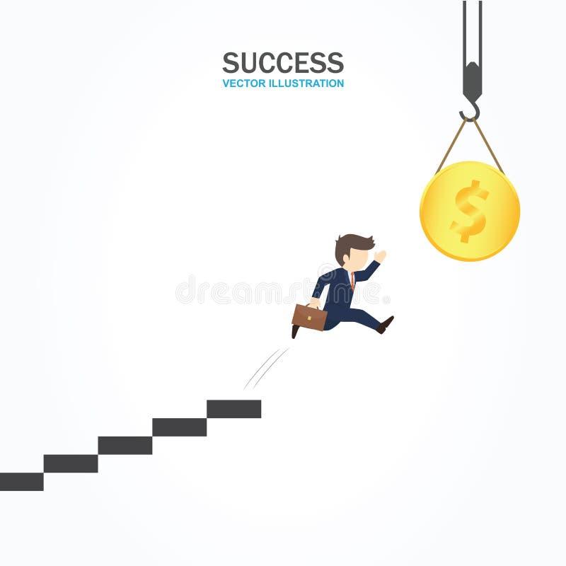 El hombre de negocios que salta de escalera para conseguir el dinero libre illustration