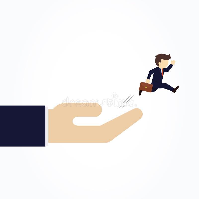 El hombre de negocios que salta de la mano de un gran jefe libre illustration