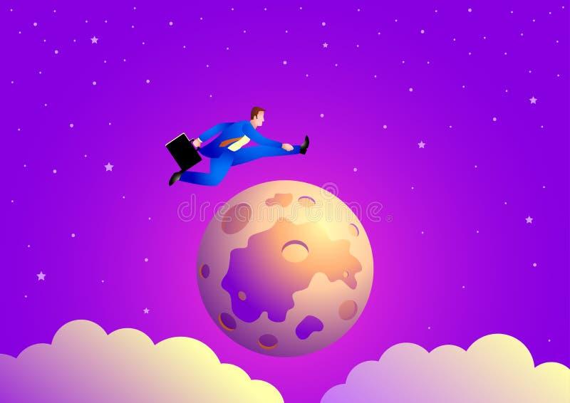 El hombre de negocios que salta sobre la luna ilustración del vector