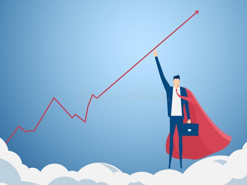 El hombre de negocios que señala el finger al gráfico del aumento consigue mucho dinero Concepto financiero del éxito del crecimi ilustración del vector