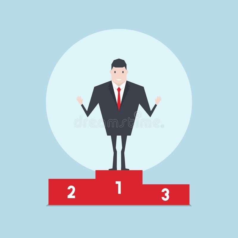 El hombre de negocios que se coloca orgulloso en ganar para numerar un podio ilustración del vector