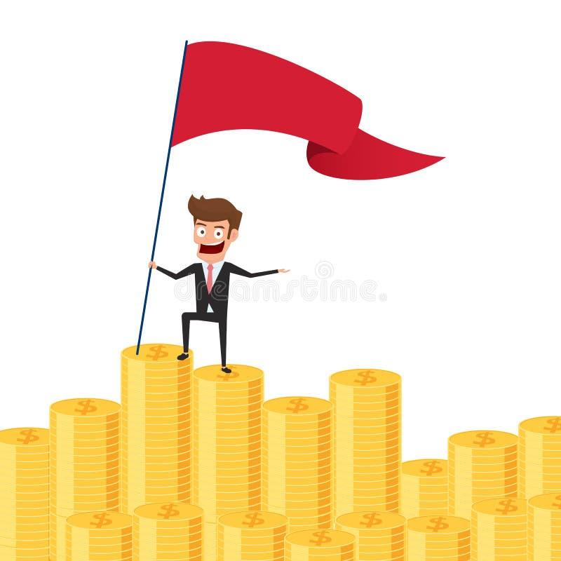 El hombre de negocios que se colocaba orgulloso en pila del dinero y fijó una bandera roja Concepto de la inversión y del ahorro  stock de ilustración