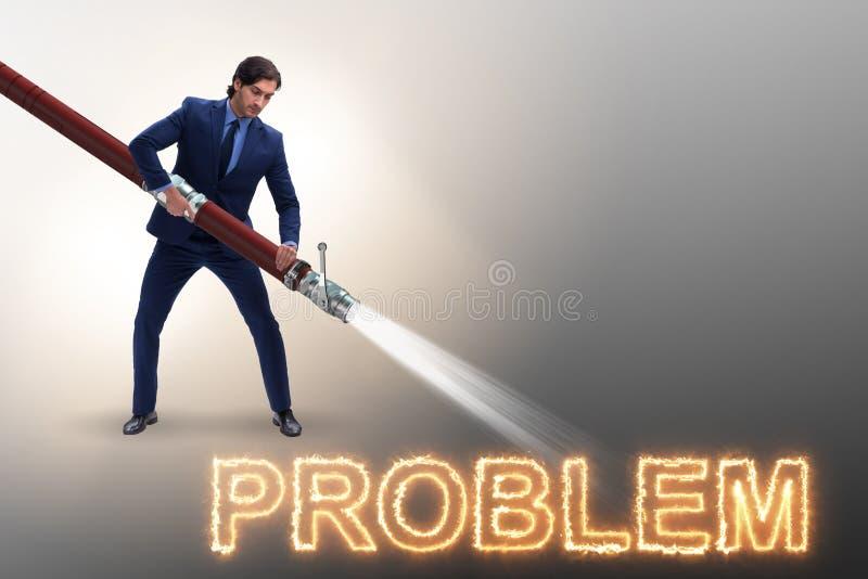El hombre de negocios que se ocupa con éxito de problemas ilustración del vector