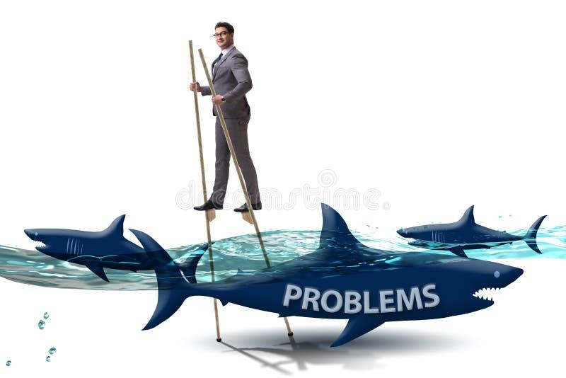 El hombre de negocios que se ocupa con ?xito de sus problemas ilustración del vector