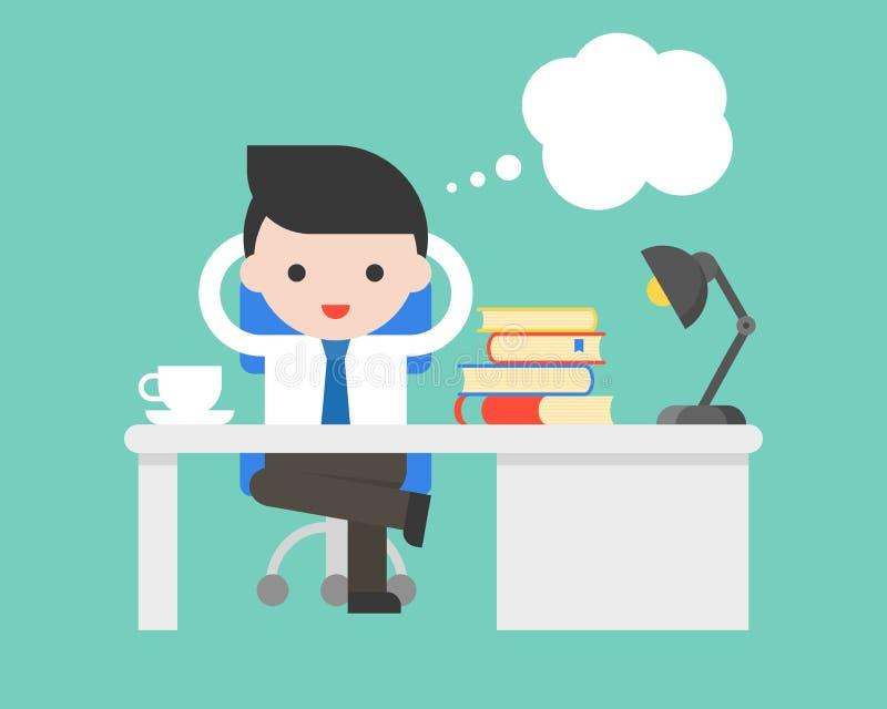 El hombre de negocios que se sienta después de escritorio y el discurso burbujean, situa del negocio stock de ilustración