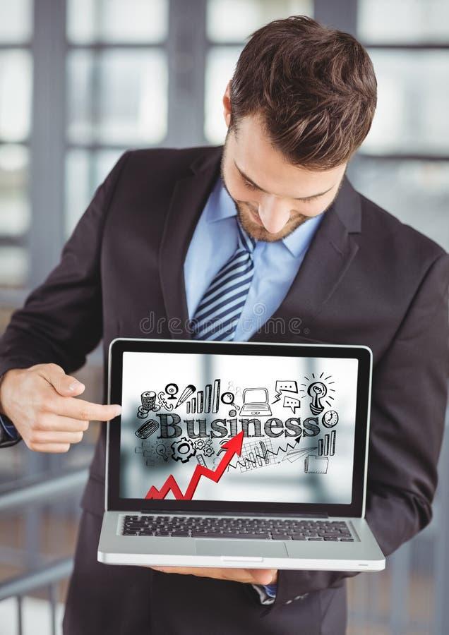 El hombre de negocios que sostiene el ordenador portátil que muestra la flecha roja con negocio negro garabatea contra fondo borr ilustración del vector